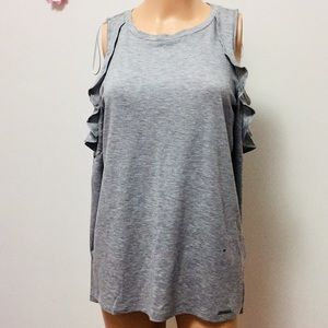 Michael Kors Gray Baggy Cold-Shoulder Top(S)